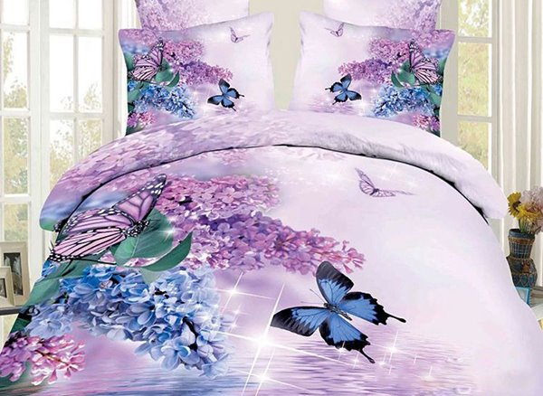 3D Butterfly and Lilac Printed Cotton 4Piece Bedding Sets