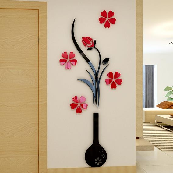 black vase and red flowers acrylic d wall stickers beddinginn