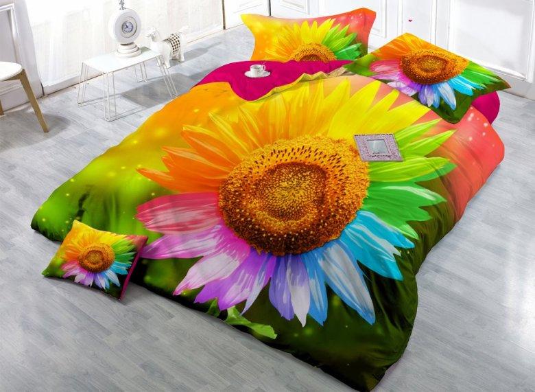 Sunflower with Colorful Petals Digital Print 4-Piece Cotton Duvet Cover Sets