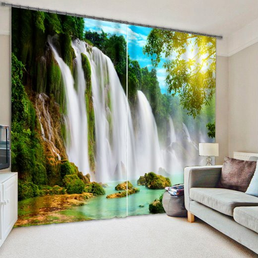 Fast Car Wallpaper For Bedroom 3d Turbulent Waterfall And Green Trees Printed Nature