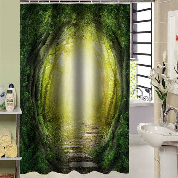 Attractive Llusional Woodland Path 3D Shower Curtain