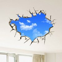 Creative Broken Wall Blue Sky Removable 3D Wall Sticker ...