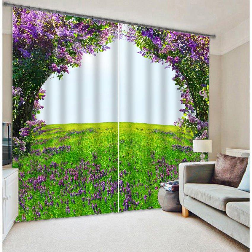 Romantic Purple Flower Green Field 3D Blackout Curtain  beddinginncom