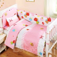 Lovely Colorful Strawberry and Bowknot Pattern Crib ...
