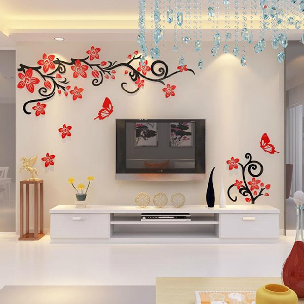 fabulous acrylic d flowers and vines tv wall bedroom d wall