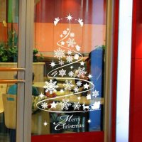 Christmas Decoration Snowflake Tree Window Glass Removable