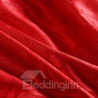 Bright Red Romantic Big Roses Jacquard 4-Piece Bamboo ...