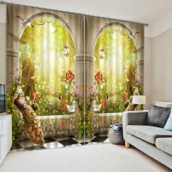 Kitchen Curtains At Target Rooms To Go Islands 3d Symmetrical Peacock And Magic Garden Printed Bedroom ...