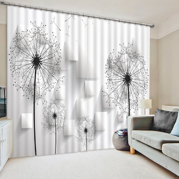 3d Dandelions Printed Pastoral Style Custom White And