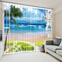 3D Beach and Seagulls with Sunflowers out of the Window ...