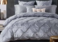Fancy Grey Pinch Pleat 4-Piece Polyester Duvet Cover Sets ...