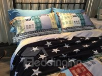 Western Style Elk and Castle Print 4-Piece Cotton Bedding ...