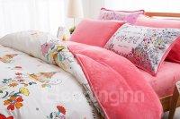 Watercolor-style Floret Print 4-Piece Duvet Cover Sets ...