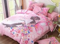 Flower Fairy Printed Cotton 4-Piece Pink Duvet Covers ...