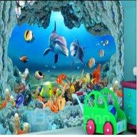 Dolphins and Corals of Ocean Waterproof Splicing 3D Floor ...