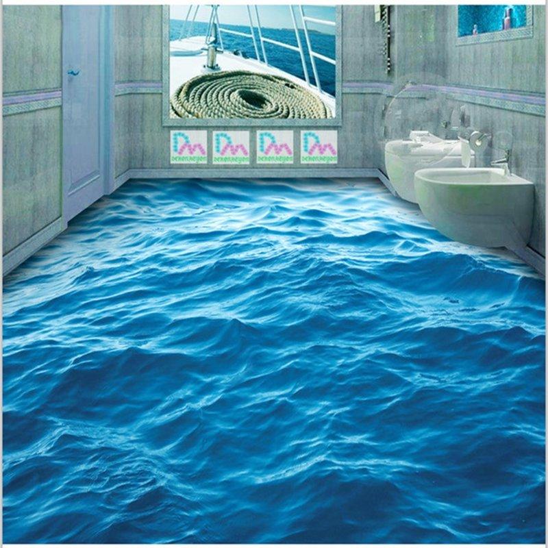3D Blue Sea Wave Pattern PVC Nonslip Waterproof Eco