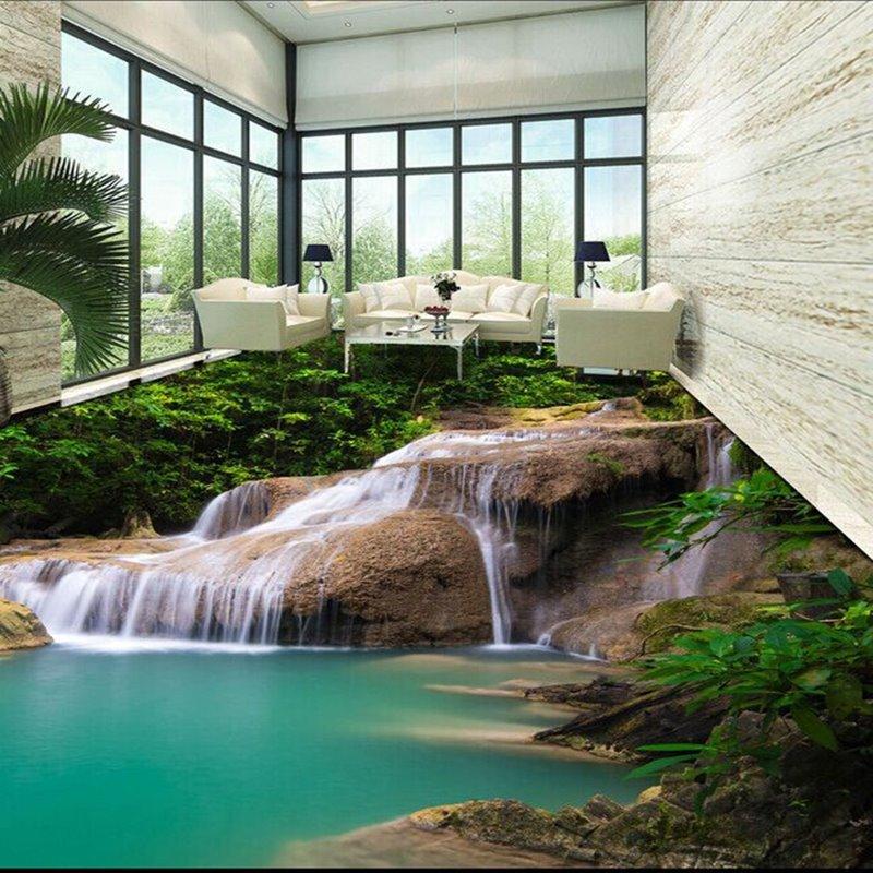 3D Green Stream in Mountain PVC Waterproof Nonslip Eco