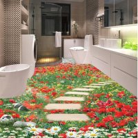 Gorgeous Flowers Stone Path Pattern Home Decorative 3D ...