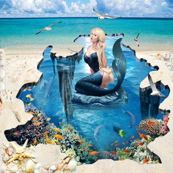 3D Floor Mural Mermaid