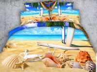 Sea Shell and Starfish on Tropical Beach Print 4-Piece ...