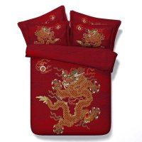 3D Oriental Golden Dragon Printed 4-Piece Red Bedding Sets ...