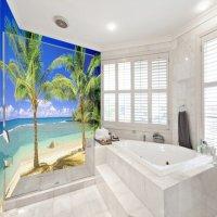 Leisurely Blue Sky and Seaside Scenery Pattern Waterproof