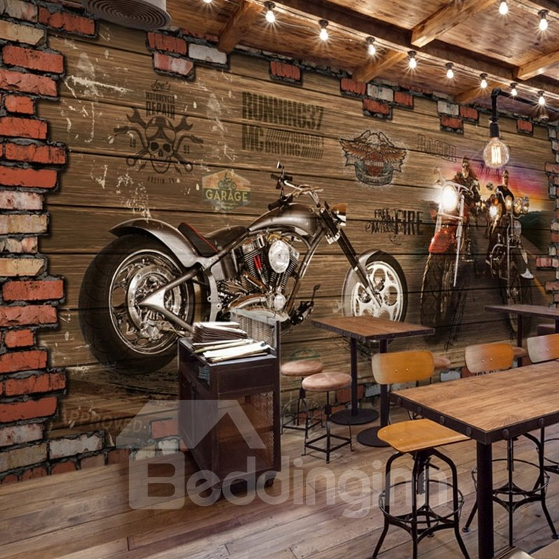 3D Motorcycle Pattern Vintage Style PVC Waterproof Eco