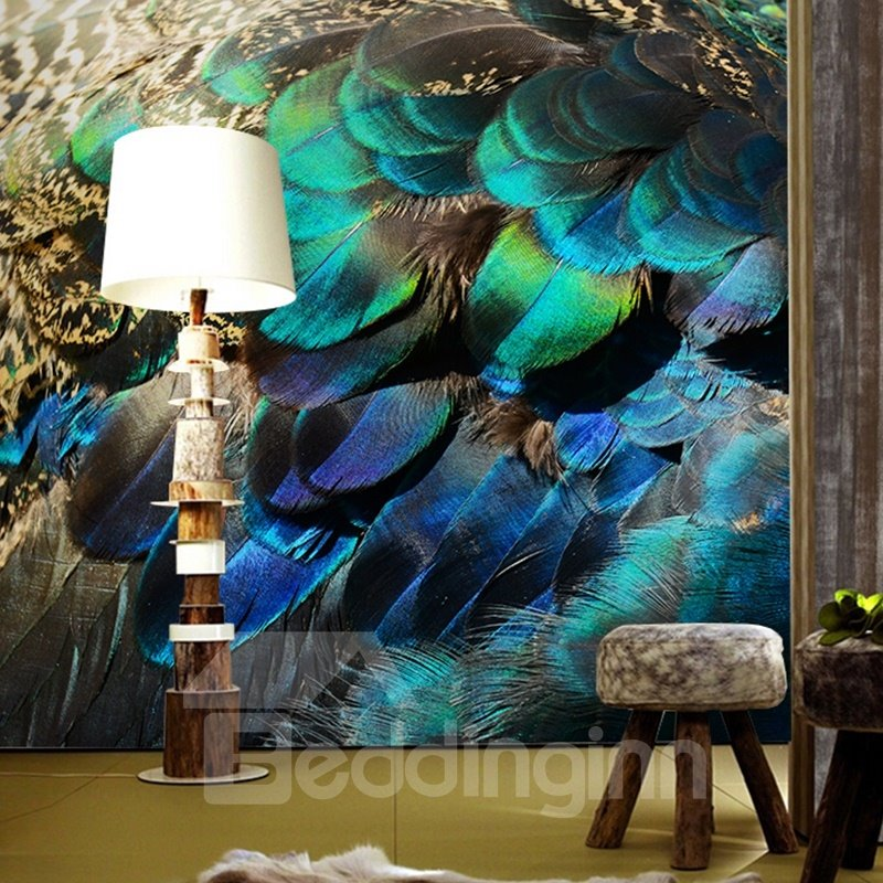 Fast Car Wallpaper For Bedroom Vivid Modern Design Peacock Feather Pattern Waterproof 3d