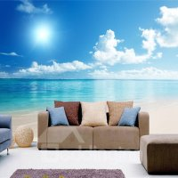 Blue Sky and Sea Scenery Pattern PVC Waterproof and