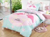 Bright Flamingo Couple Pattern 3 Pieces 100% Cotton Duvet ...