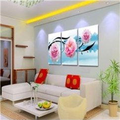 Framed Wall Pictures For Living Room Ireland Lime Green Decorating Ideas Prints Beddinginn Com 25 Pink Flowers And Lake Scenery Pattern Hanging 3 Panels Waterproof