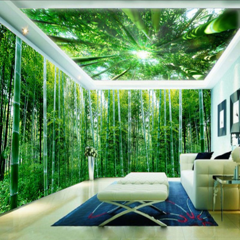 Fast Car Wallpaper For Bedroom 3d Green Natural Bamboo Forest Pattern Design Waterproof