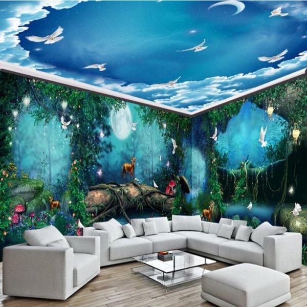 Blue Green Sky Ocean 3d Waterproof Ceiling And Wall Murals