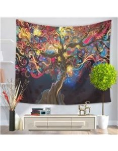 Boho chic colorful tree branches oil painting hanging wall tapestry also size chart beddinginn rh