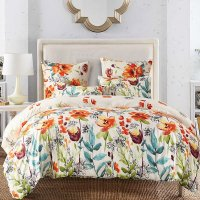 Pastoral Style Watercolor Flowers Pattern 3-Piece Bedding ...
