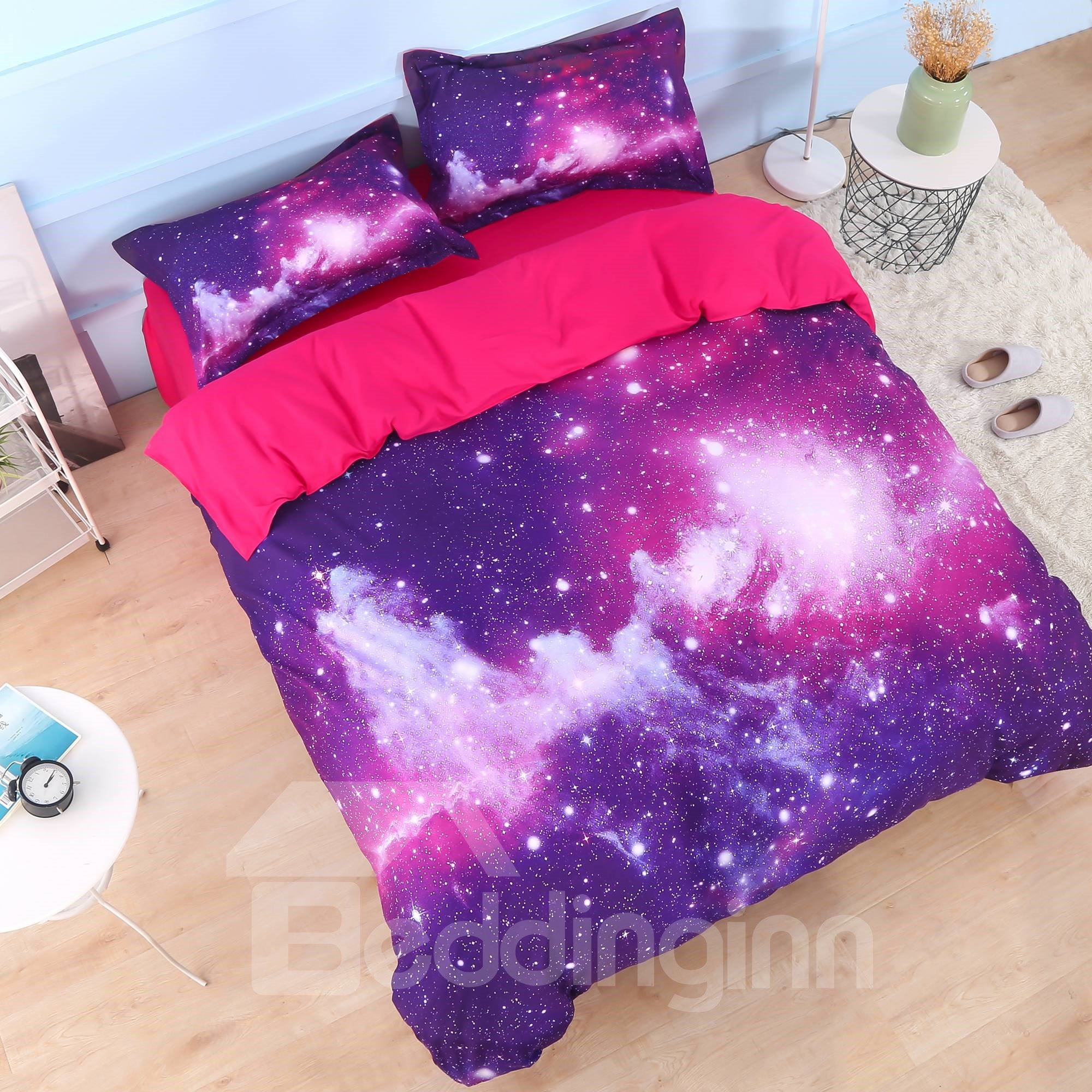 Galaxy Cluster Printed Cotton 4Piece 3D Purple Bedding