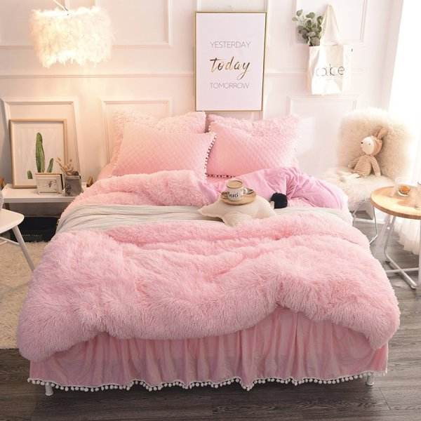 Princess Style Solid Pink With Quilting Bed Skirts Thick 4