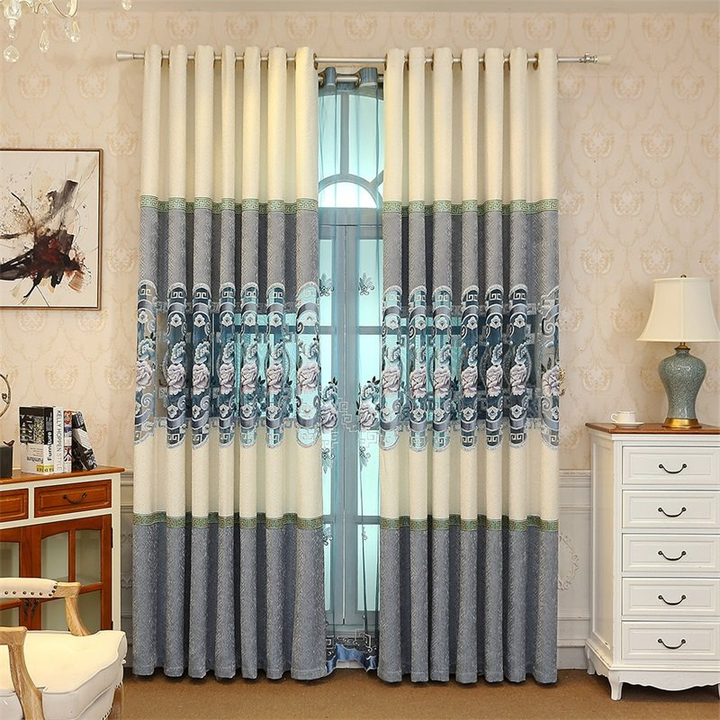 simple living room curtains white tufted sofa elegant and cozy light blue embroidered flowers hollowed out 53 designing curtain