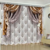 3D Imitated Elegant Shading Cloth Printed Custom Curtain