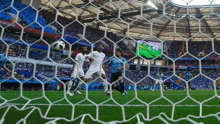 Luis SUARES anota el único gol en el partido. Foto AFP