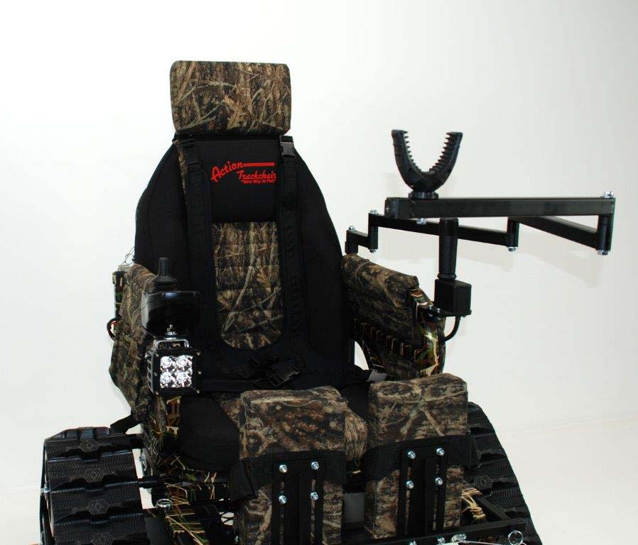 action track chair walmart kitchen table chairs trackchair gives disabled shooters access to all areas the tr model with its uni mount and rifle support