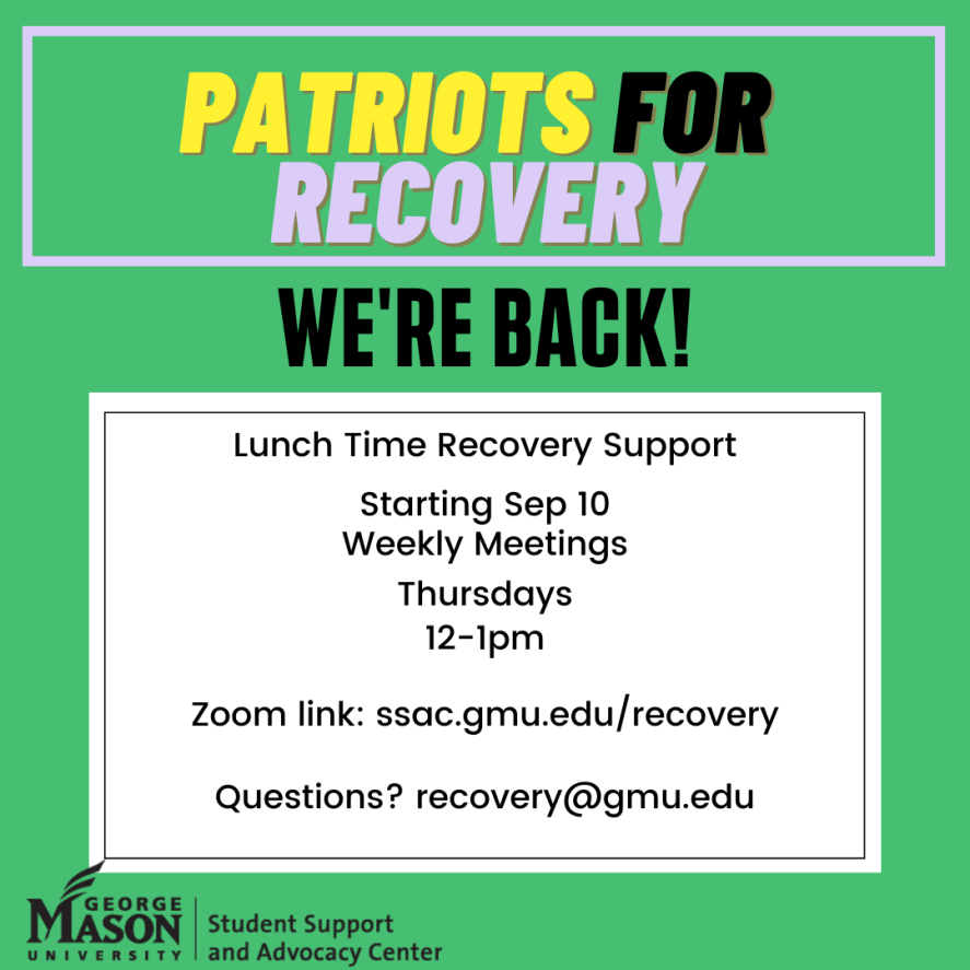 Lunch Time Recovery Support, Starting September 10th, Weekly Meetings Thursdays 12-1