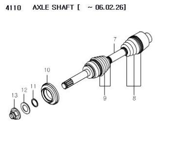 413ST08000 Boot Drive Shaft Inner Rexton Rx290 Rx270 Rx230
