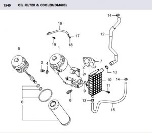 6611803309 Element Oil Filter Rexton Rx290 OM662 Diesel