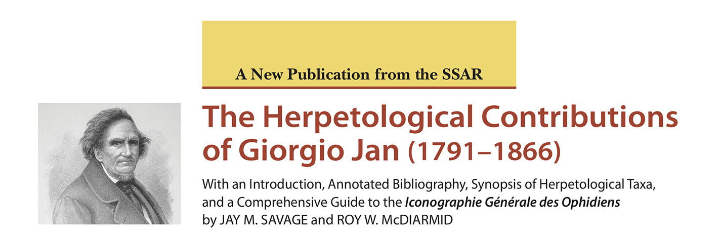 Now available! The Herpetological Contributions of Giorgio Jan (1791-1866)