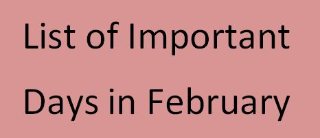 list of important days in february