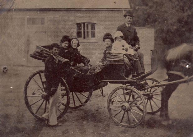 Family in a horse and carriage