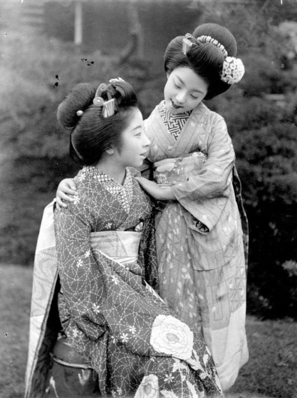 Fig. 16. Japanese girls posing outside, unknown photographer c.1893 | © National Trust for Scotland, Broughton House and Garden