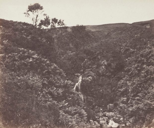 Hillside with waterfall - Arran by John Muir Wood