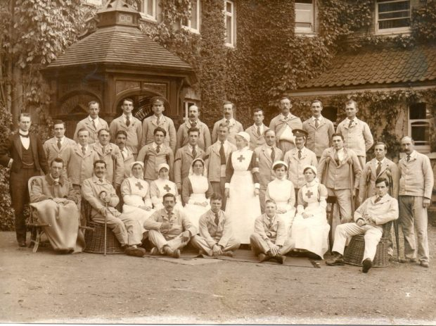 Photograph of staff and patients at Easton Park during its time as a hospital during WWI